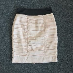 H&M Light Pink & Black Ruched Pencil Skirt Size 6